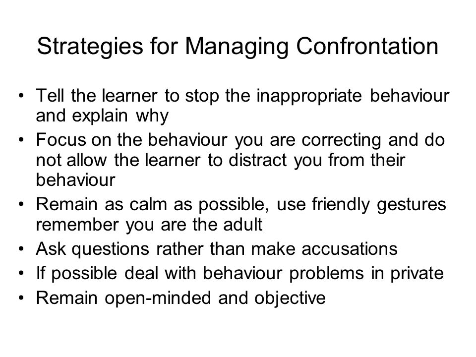 Strategies for Managing Confrontation