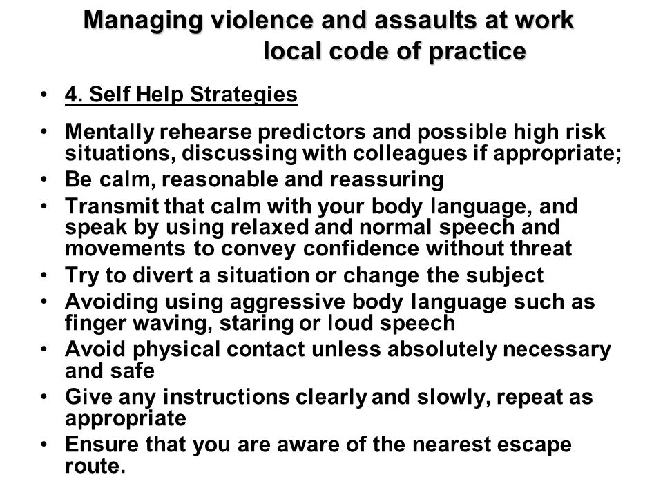 Managing violence and assaults at work