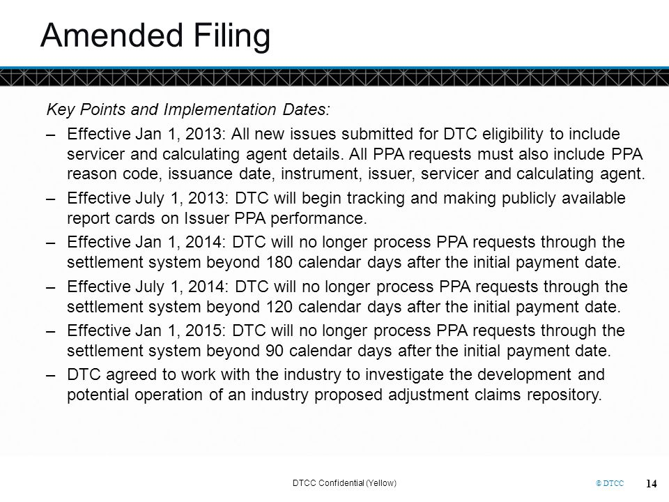 Amended Filing Key Points and Implementation Dates: