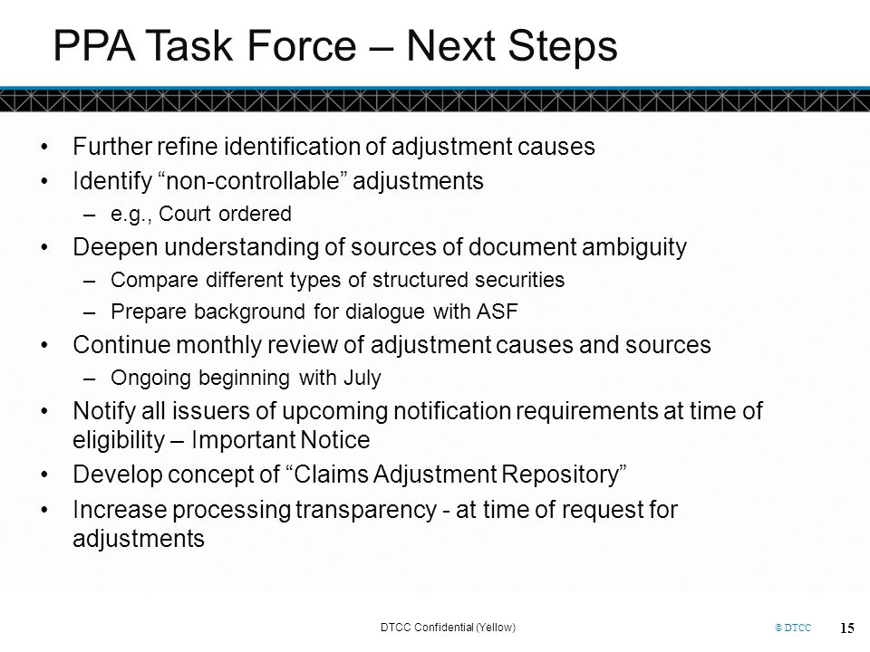 PPA Task Force – Next Steps