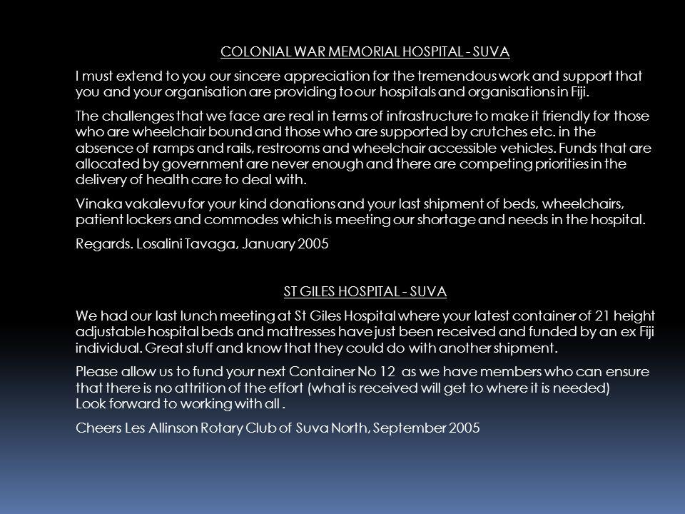 COLONIAL WAR MEMORIAL HOSPITAL - SUVA