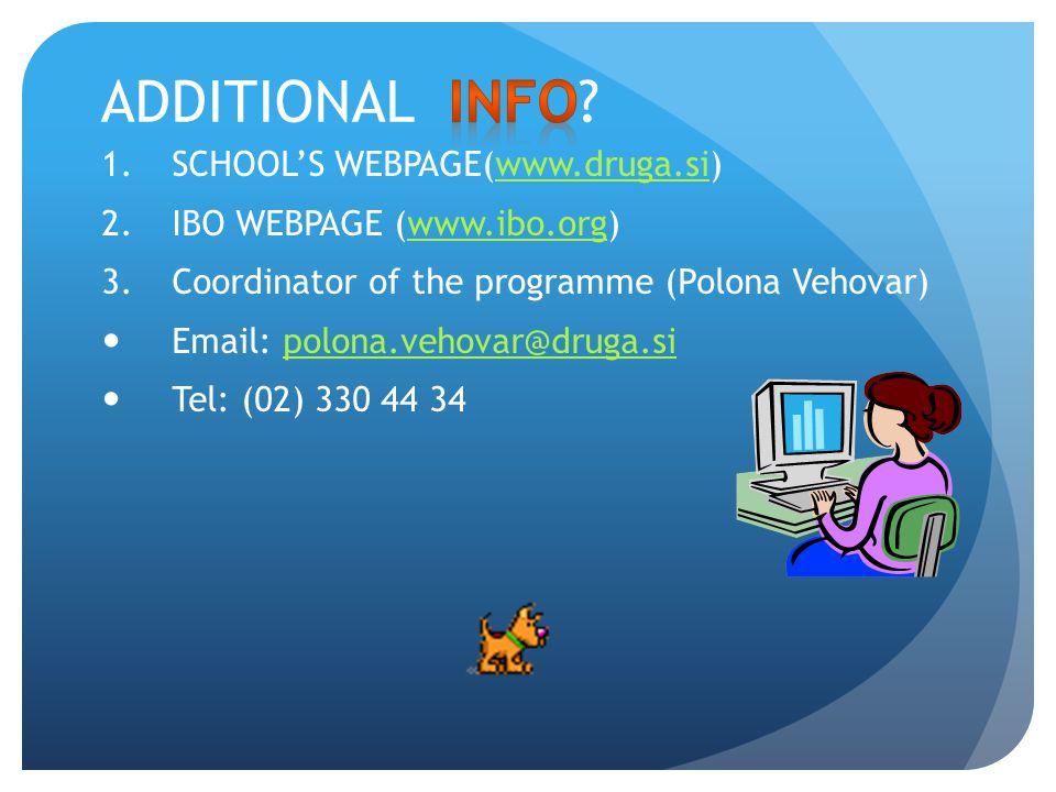 ADDITIONAL INFO SCHOOL'S WEBPAGE(www.druga.si)