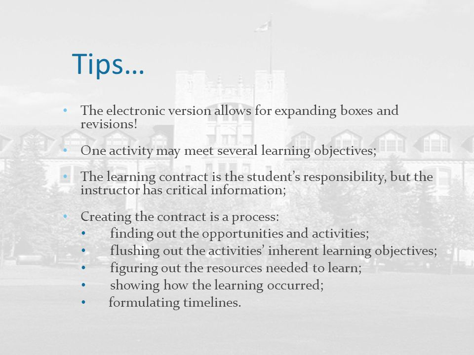 Tips… The electronic version allows for expanding boxes and revisions!
