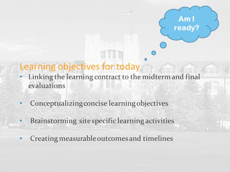 Learning objectives for today