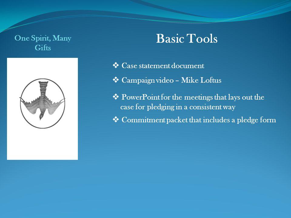 Basic Tools One Spirit, Many Gifts Case statement document