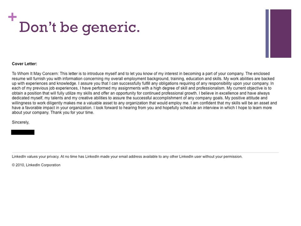Don't be generic.