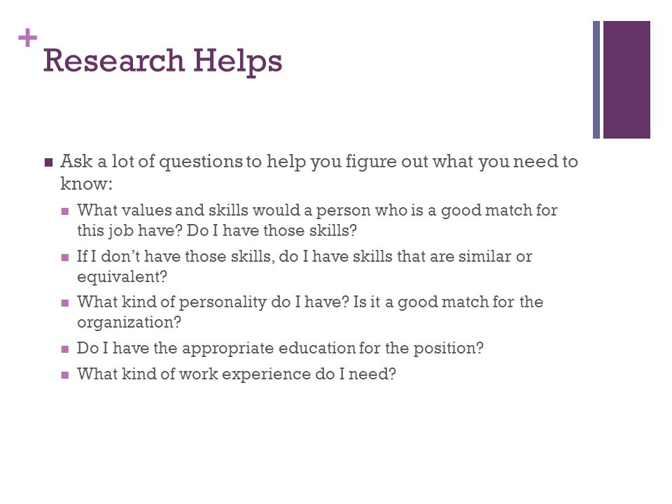 Research Helps Ask a lot of questions to help you figure out what you need to know: