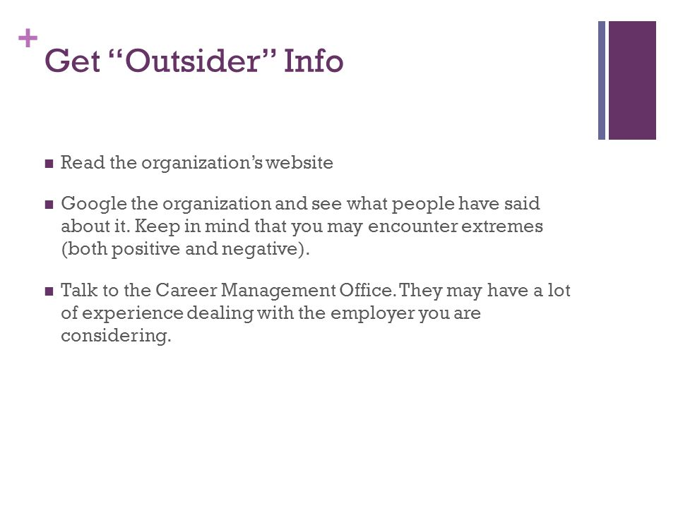 Get Outsider Info Read the organization's website