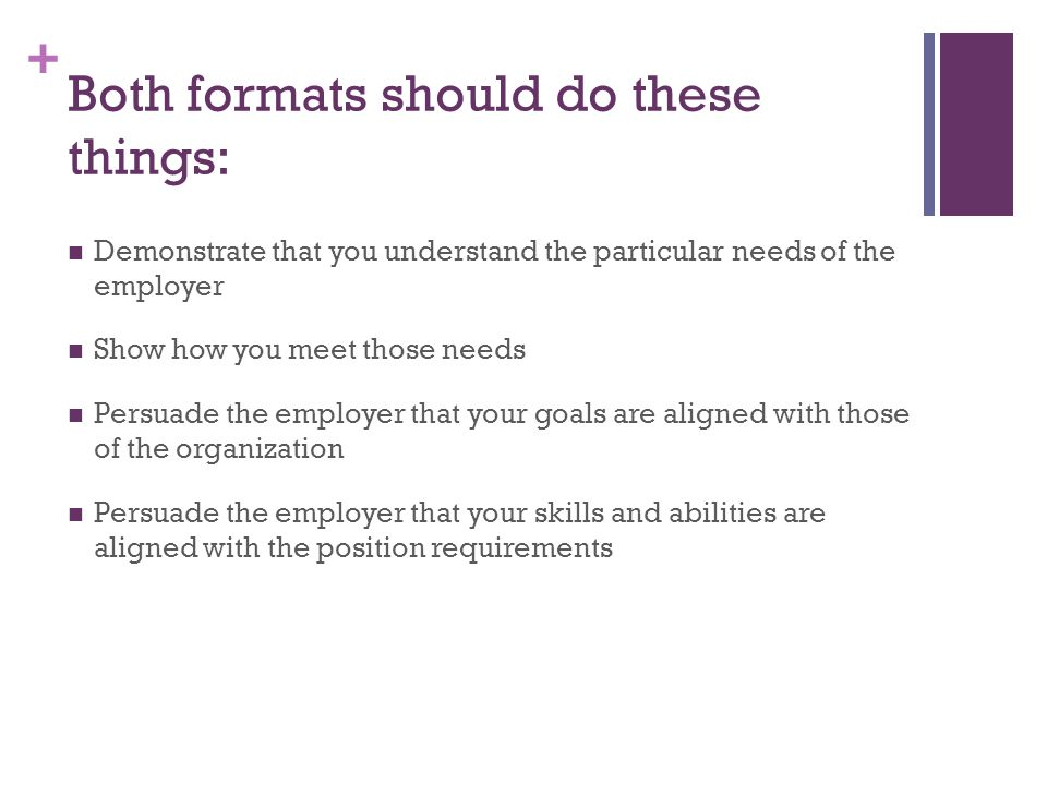 Both formats should do these things: