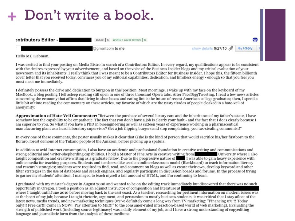 Don't write a book.