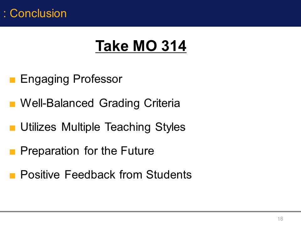 Take MO 314 : Conclusion Engaging Professor