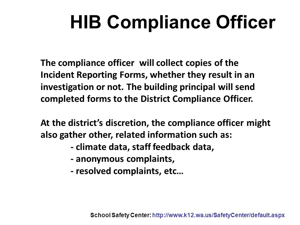 HIB Compliance Officer