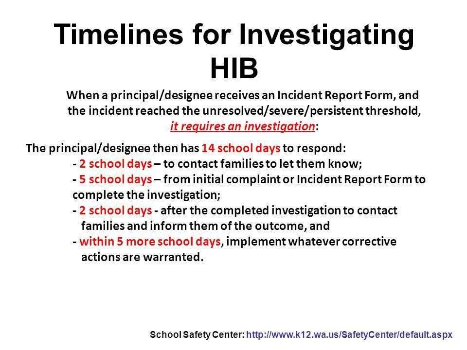 Timelines for Investigating HIB