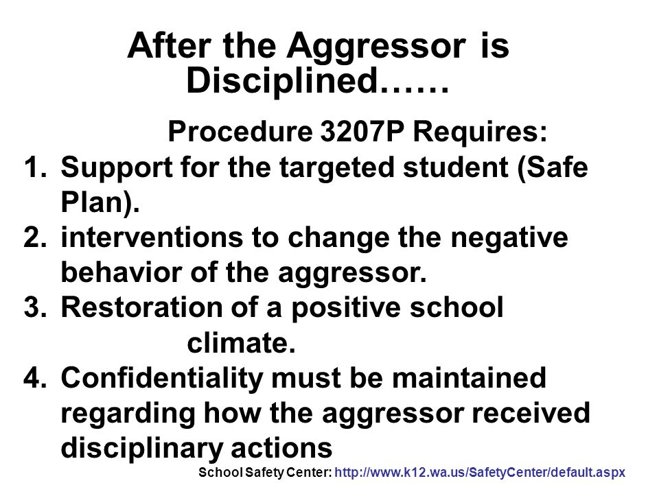 After the Aggressor is Disciplined……