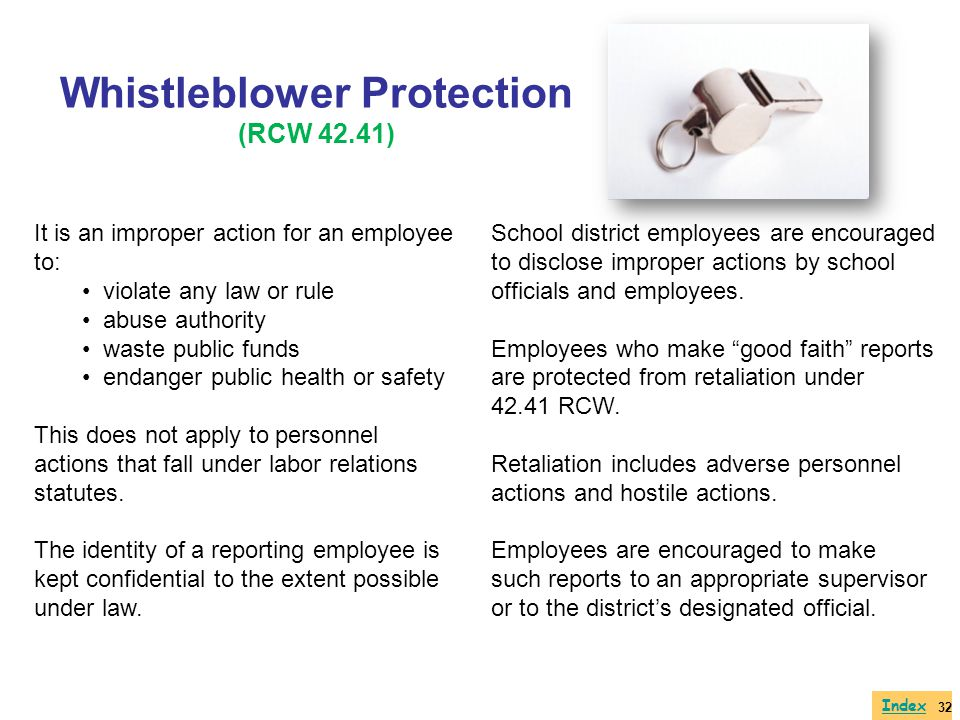 Whistleblower Protection (RCW 42.41)