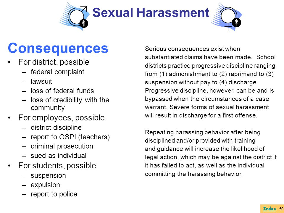 Consequences Sexual Harassment For district, possible