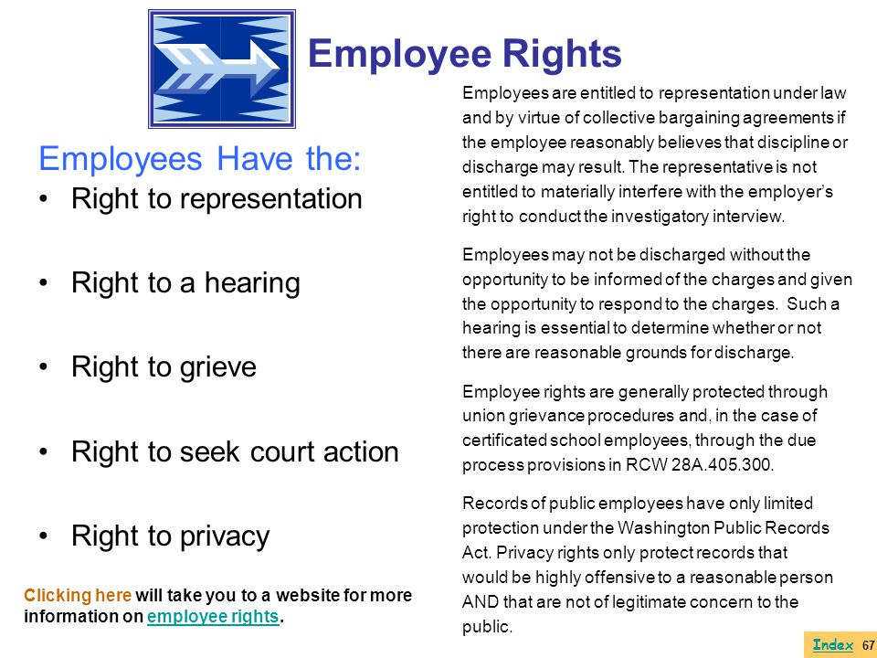 Employee Rights Employees Have the: Right to representation