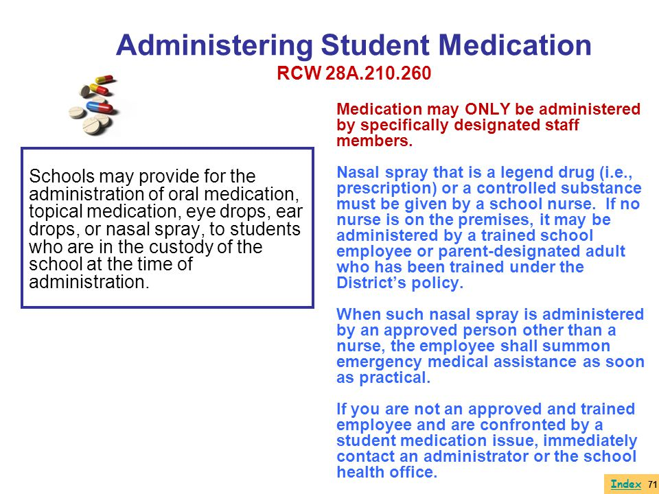 Administering Student Medication RCW 28A.210.260