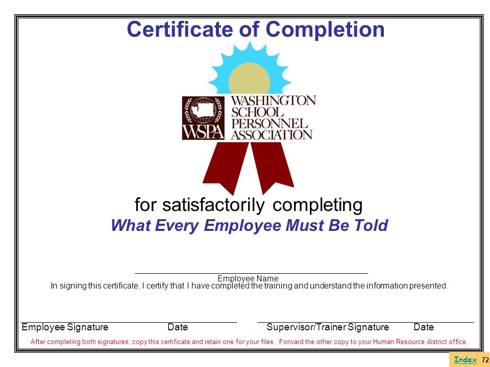 Certificate of Completion What Every Employee Must Be Told
