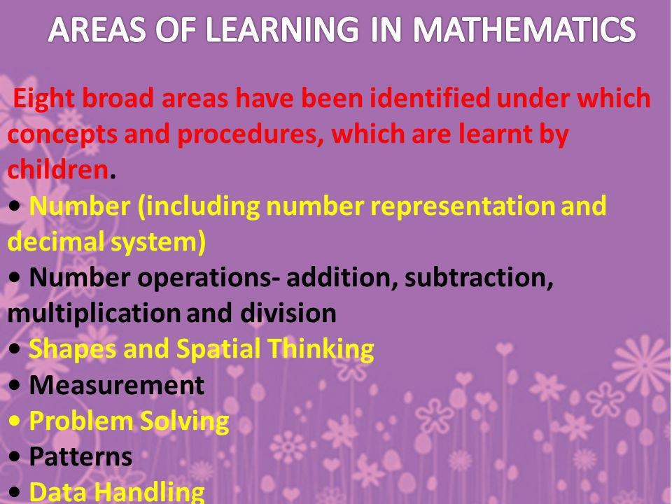 AREAS OF LEARNING IN MATHEMATICS