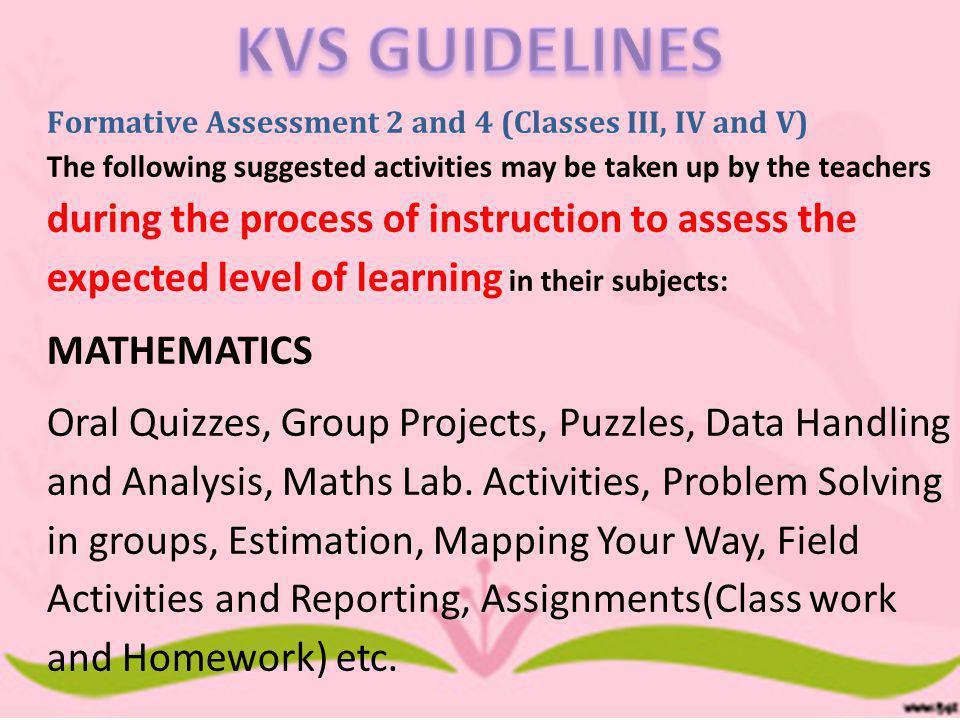 KVS GUIDELINES MATHEMATICS