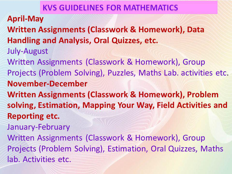 KVS GUIDELINES FOR MATHEMATICS