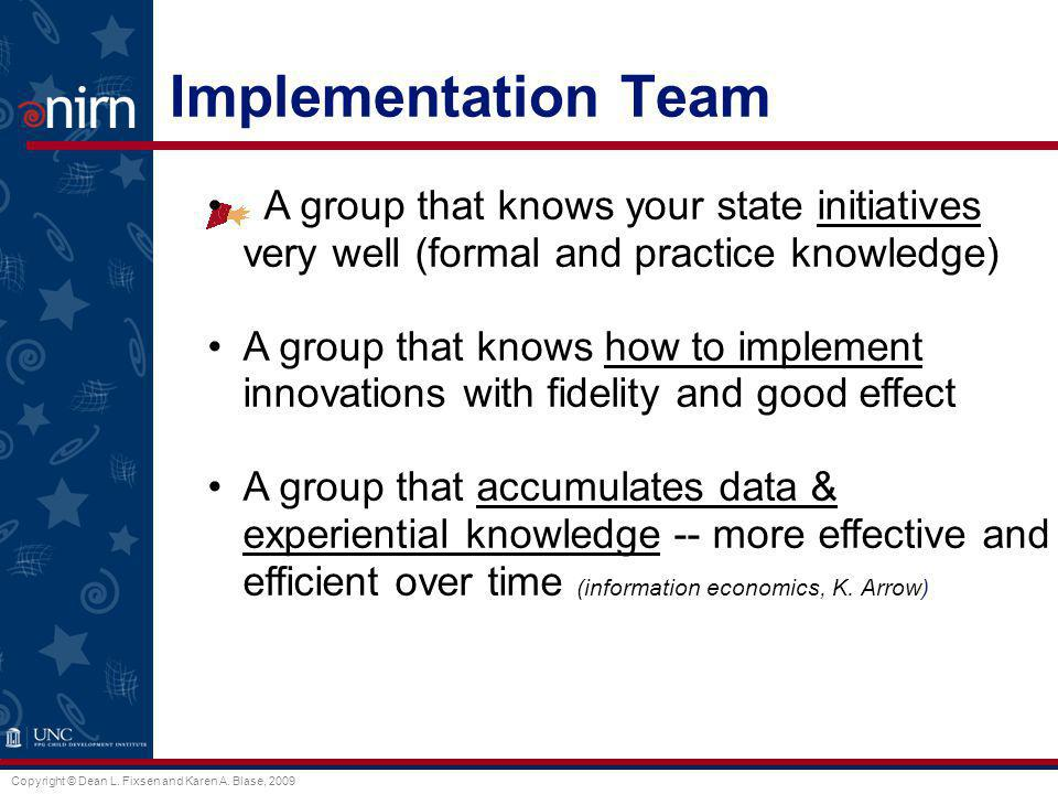 Implementation Team A group that knows your state initiatives very well (formal and practice knowledge)