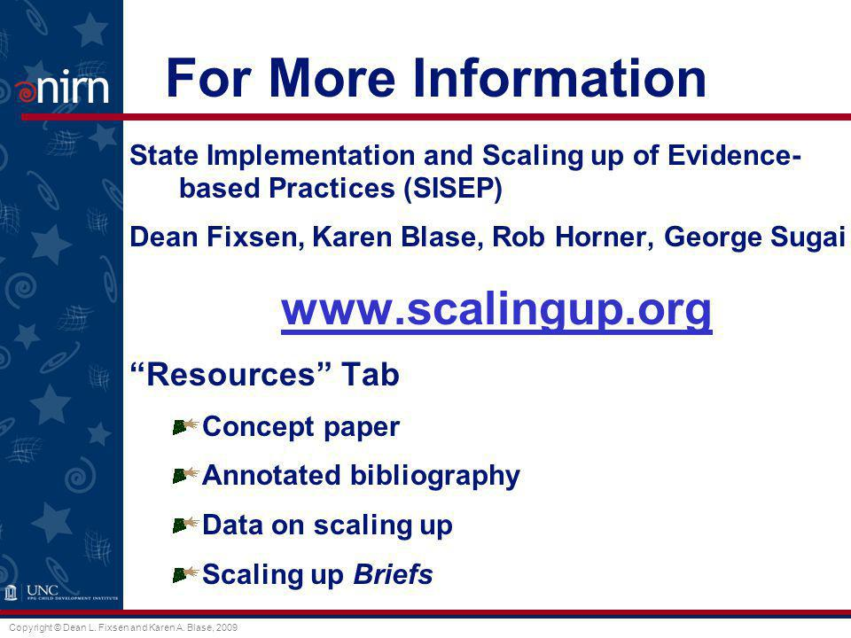 For More Information www.scalingup.org Resources Tab