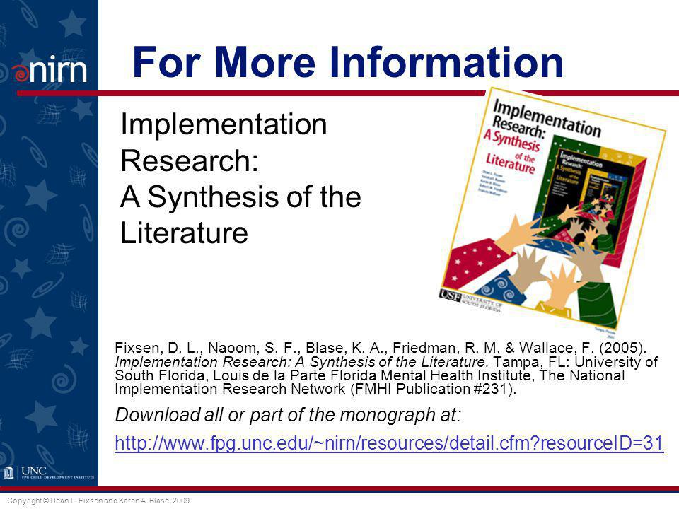 For More Information Implementation Research: