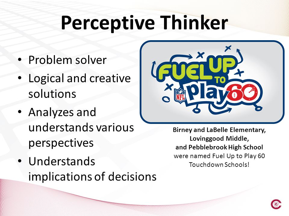 Perceptive Thinker Problem solver Logical and creative solutions