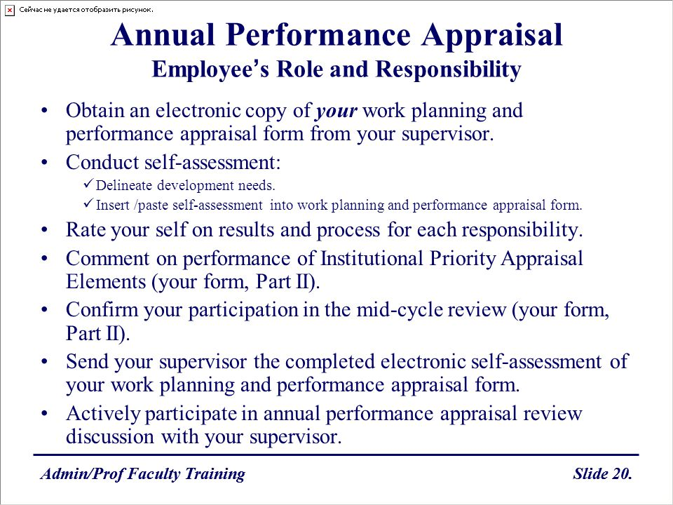 Annual Performance Appraisal Employee's Role and Responsibility
