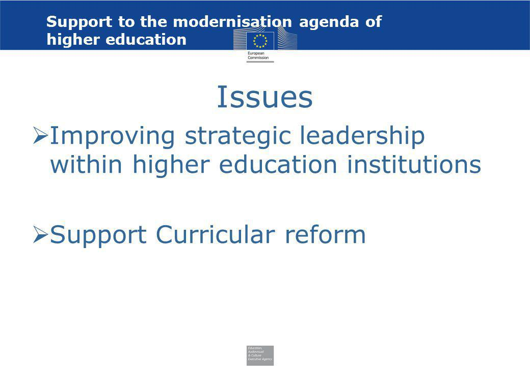 Support to the modernisation agenda of higher education