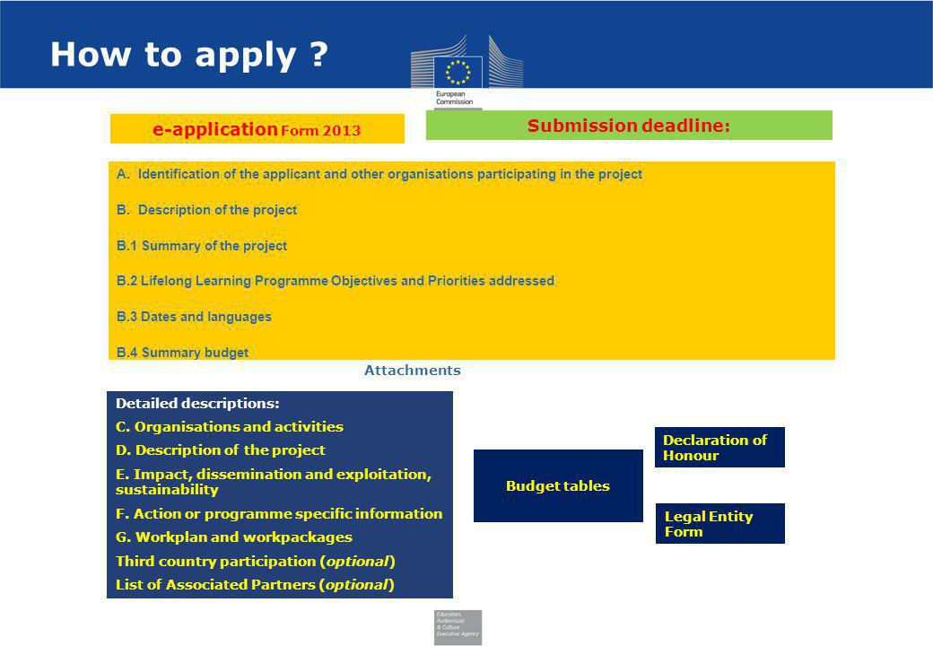 How to apply Submission deadline: e-application Form 2013
