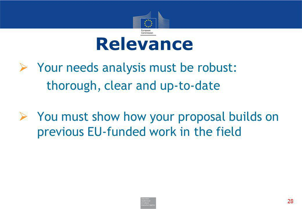 Relevance Your needs analysis must be robust: