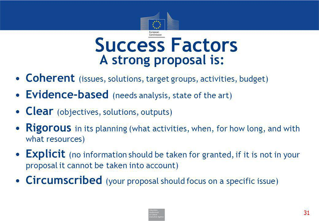 Success Factors A strong proposal is: