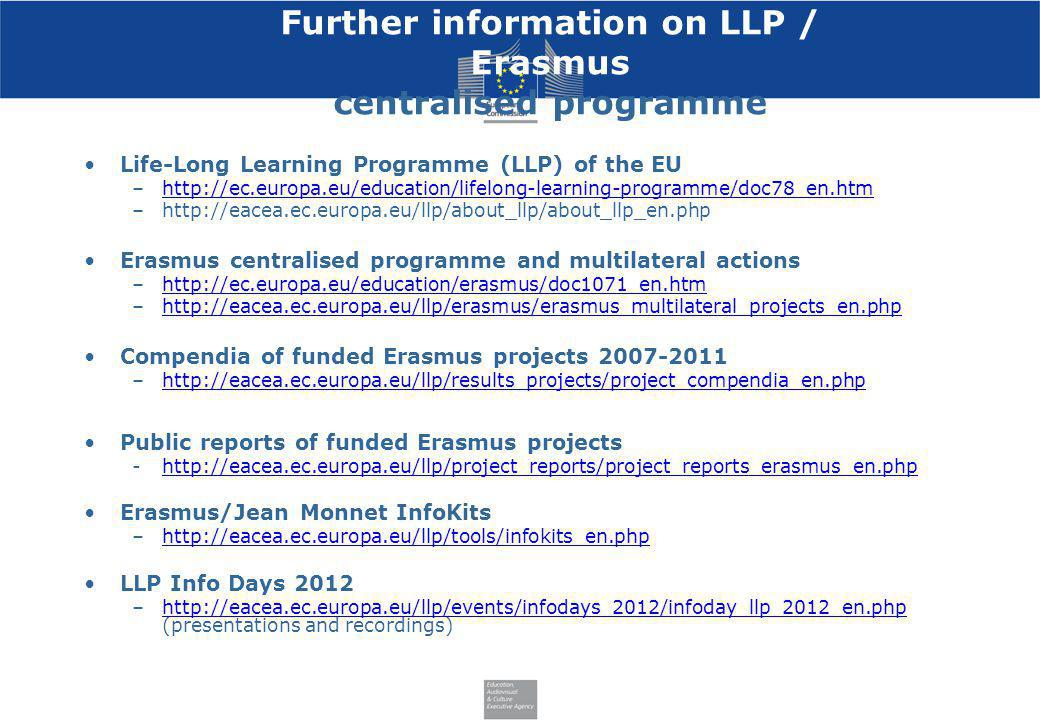 Further information on LLP / Erasmus centralised programme