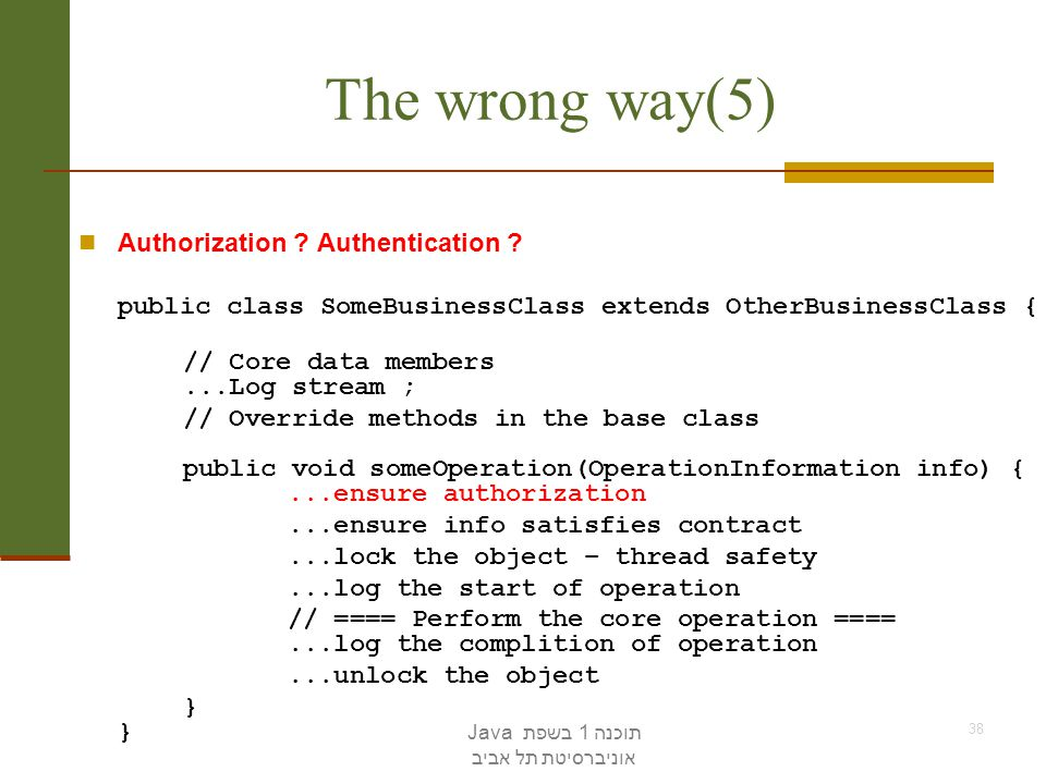 The wrong way(5) Authorization Authentication