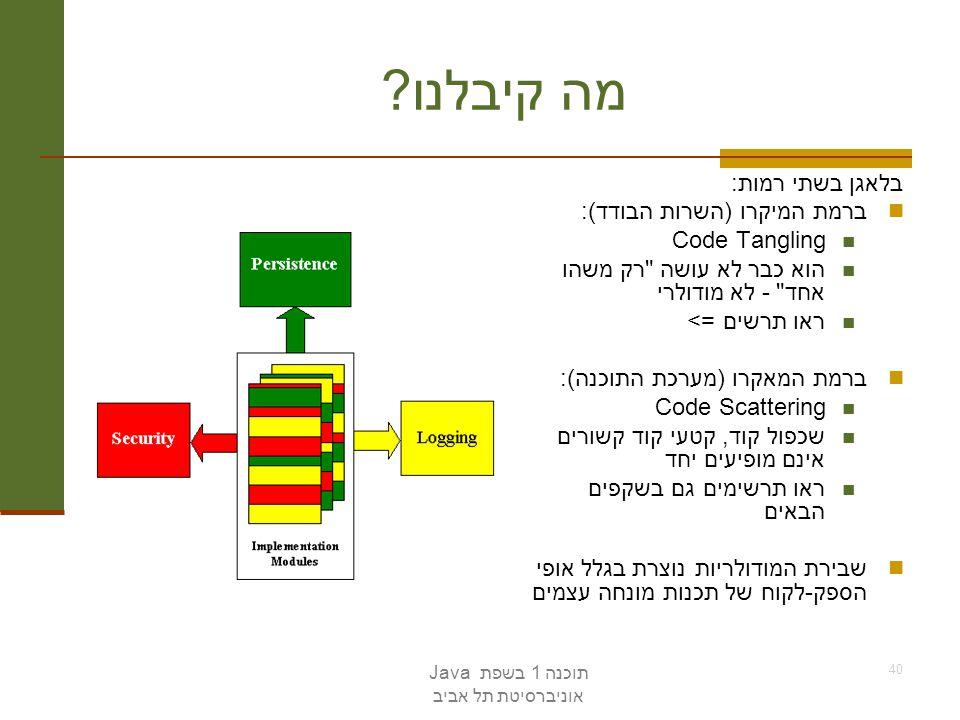 מה קיבלנו בלאגן בשתי רמות: ברמת המיקרו (השרות הבודד): Code Tangling