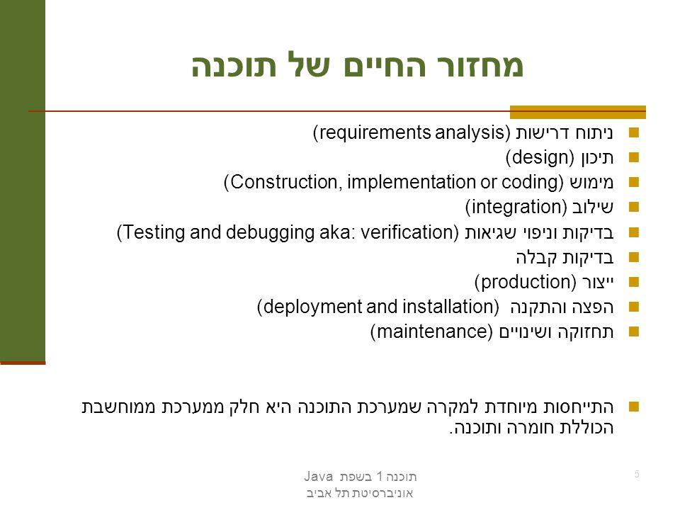 מחזור החיים של תוכנה ניתוח דרישות (requirements analysis)