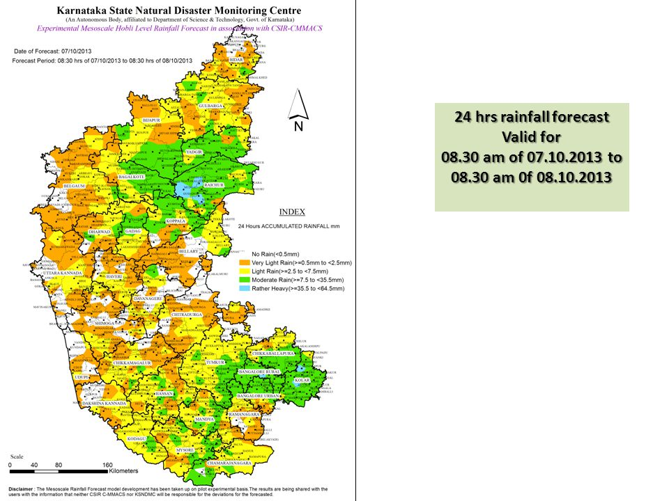 24 hrs rainfall forecast Valid for 08.30 am of 07.10.2013 to 08.30 am 0f 08.10.2013