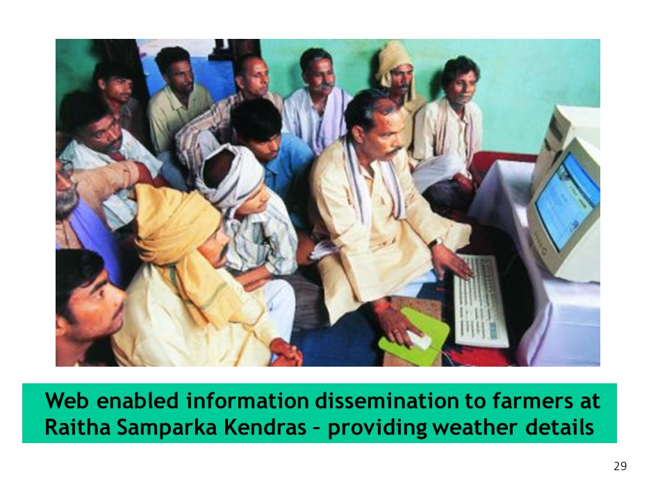 Web enabled information dissemination to farmers at Raitha Samparka Kendras – providing weather details
