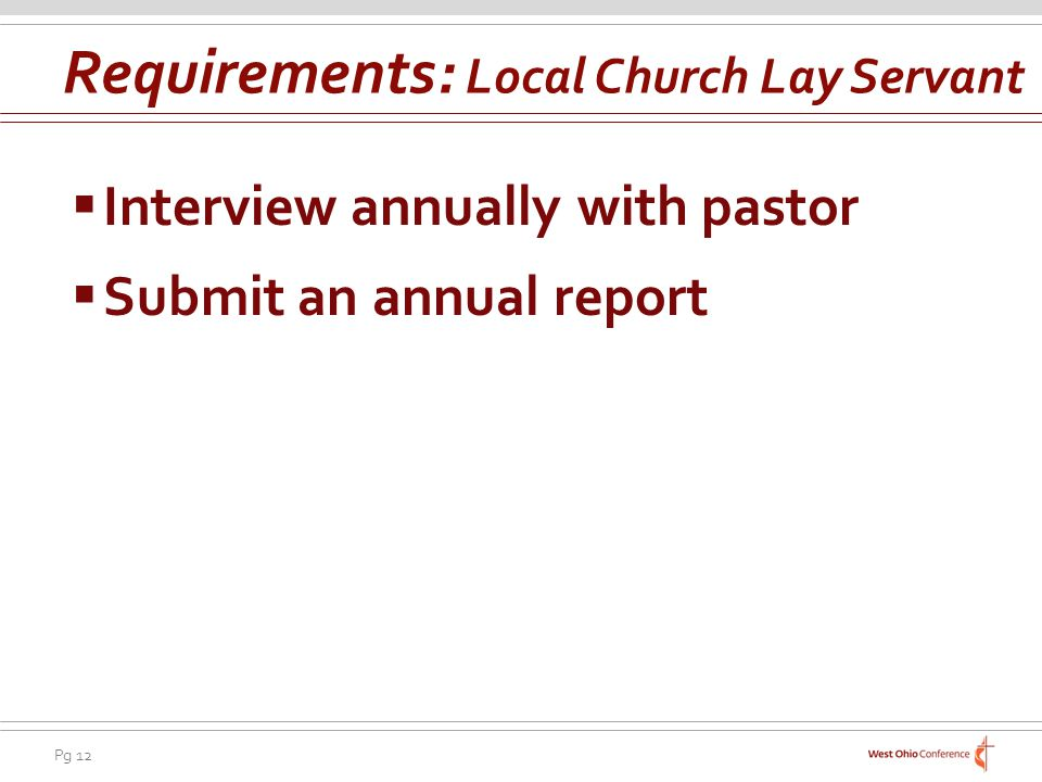 Requirements: Local Church Lay Servant