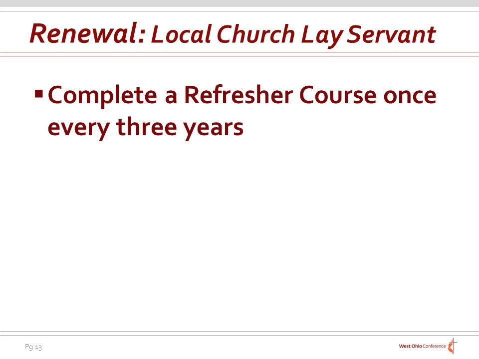 Renewal: Local Church Lay Servant
