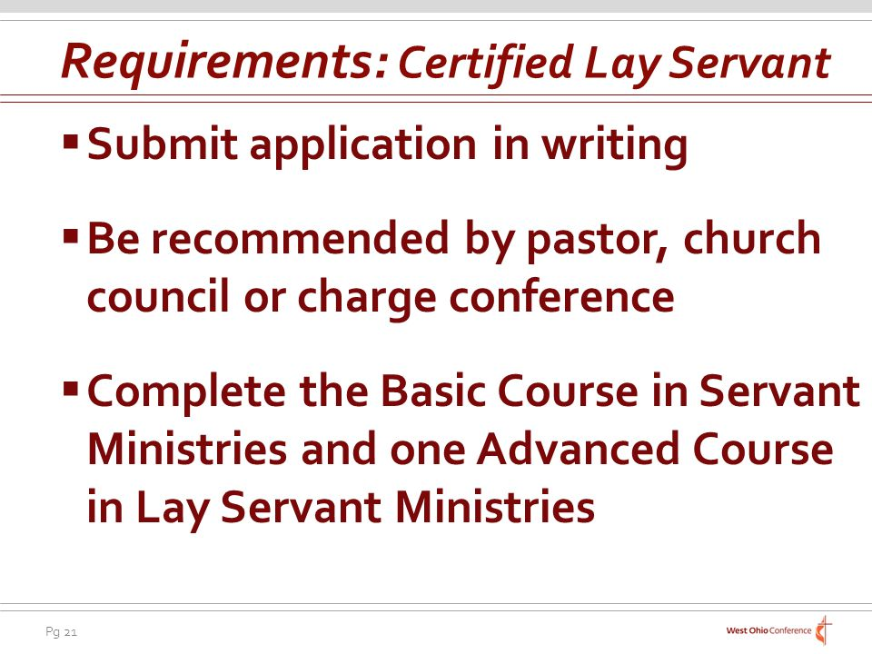 Requirements: Certified Lay Servant