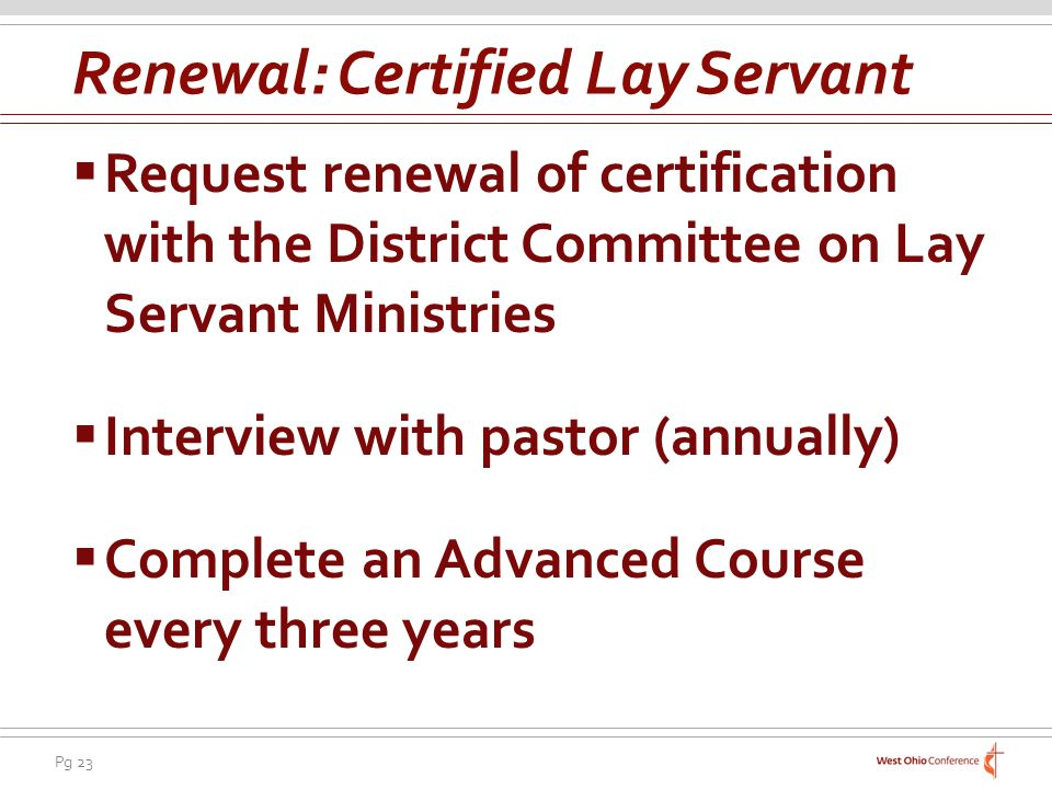 Renewal: Certified Lay Servant