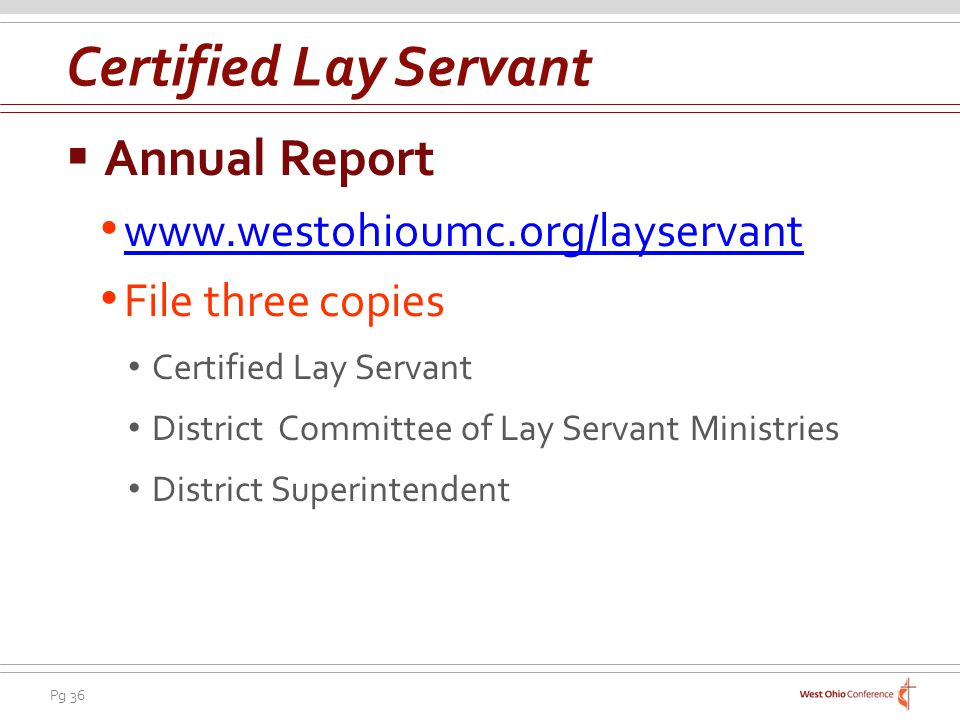 Certified Lay Servant Annual Report www.westohioumc.org/layservant