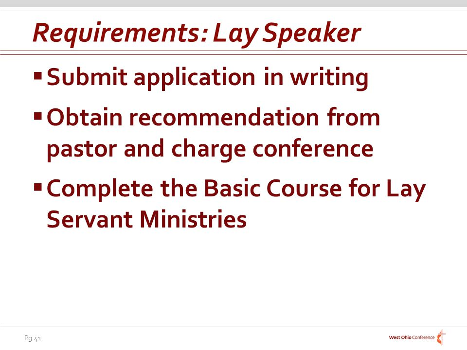 Requirements: Lay Speaker