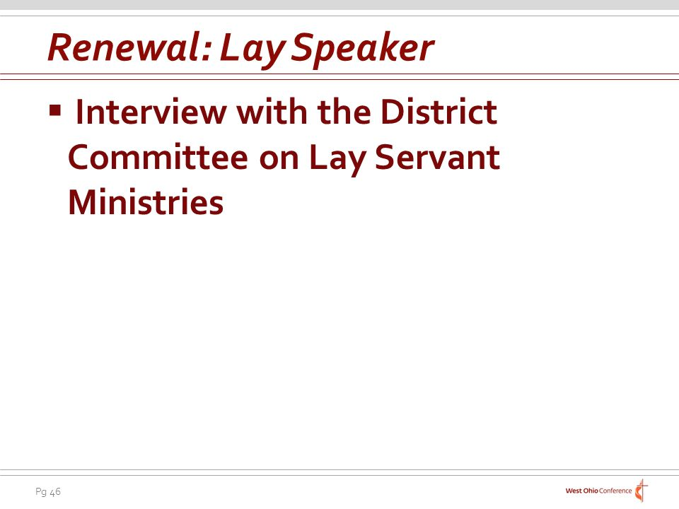 Renewal: Lay Speaker Interview with the District Committee on Lay Servant Ministries