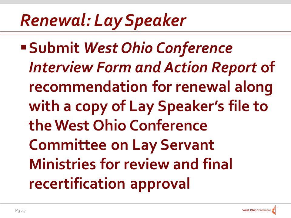 Renewal: Lay Speaker