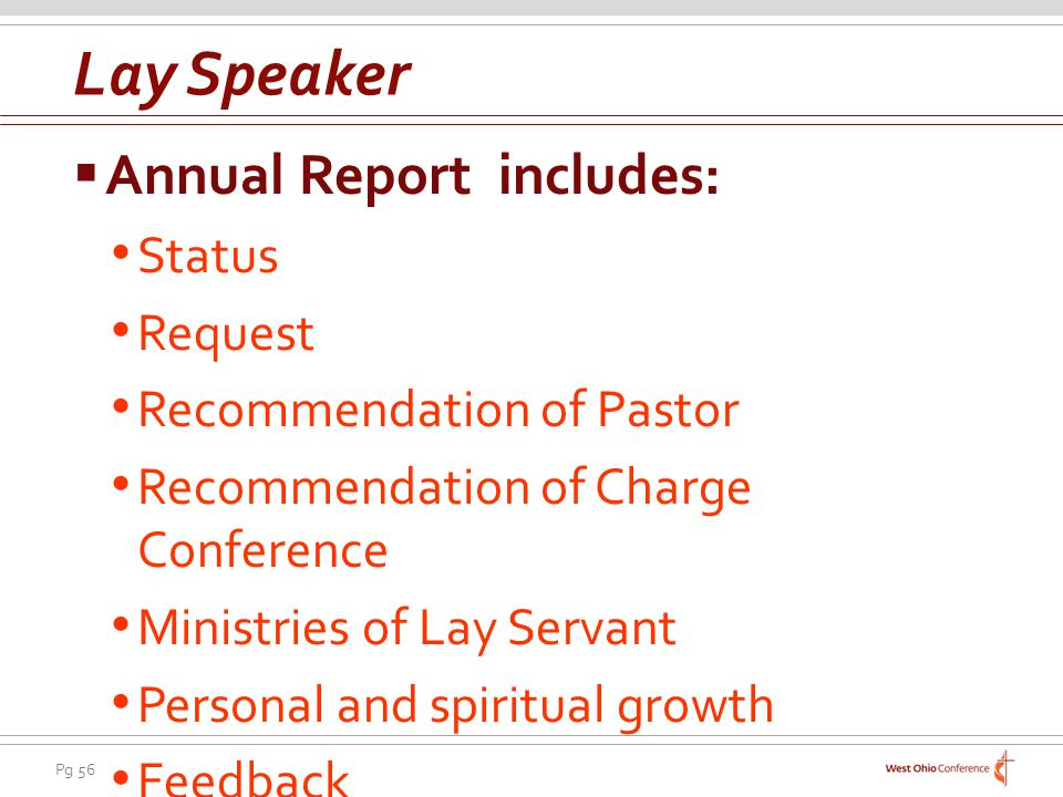 Lay Speaker Annual Report includes: Status Request